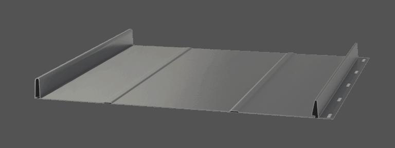 To specjalnie wzmocniony rodzaj panelu dachowego z linii Click, który dzięki dwóm wzdłużnym przetłoczeniom w kształcie trapezu wzmacnia budowę i sztywność blachy.