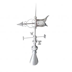 Szpica dachowa - Róża wiatrów - Obrotowa - Tytan Cynk Natural - wysokość 2000 mm