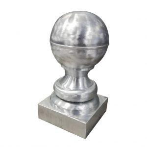 Szpica dachowa z kulą i pierścieniem - Tytan Cynk Natural - kula 250 mm - wysokość 400 mm