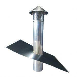 Kominek wentylacyjny z płaszczem - Tytan Cynk Natural - wysokość 600 mm